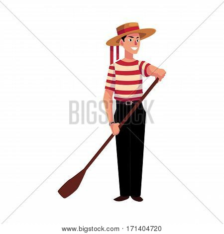 Full length portrait of young Italian, Venetian gondolier in typical clothes, cartoon vector illustration isolated on white background. Italian gondolier in traditional clothing, tourist attraction