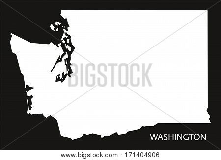 Washington USA Map black inverted silhouette illustration