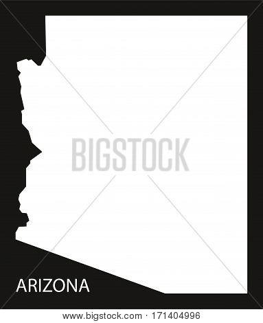 Arizona USA Map black inverted silhouette  illustration