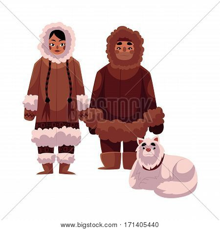 Eskimo, Inuit man and woman in warm winter clothes with white fluffy sledge dog, cartoon vector illustration isolated on white background. Full length portrait of Eskimo, Inuit couple and sledge dog