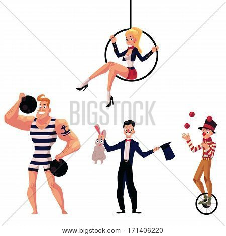 Set of circus artists - strongman, illusionist, aerial gymnast and juggler, cartoon vector illustration isolated on white background. Strongman, gymnast, illusionist and juggler circus artists