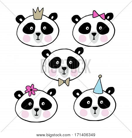 Set of cute giant pandas. Heads of little bears collection, vector illustration.