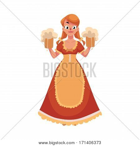 Woman in traditional German, Bavarian, Austrian country dress holding beer mugs, Oktoberfest, cartoon vector illustration isolated on white background. German girl in traditional Oktoberfest costume