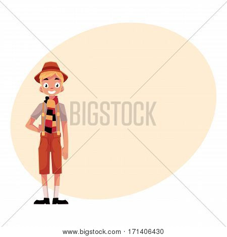 Young man wearing traditional German, Bavarian Oktoberfest costume, cartoon vector illustration isolated with place for text.