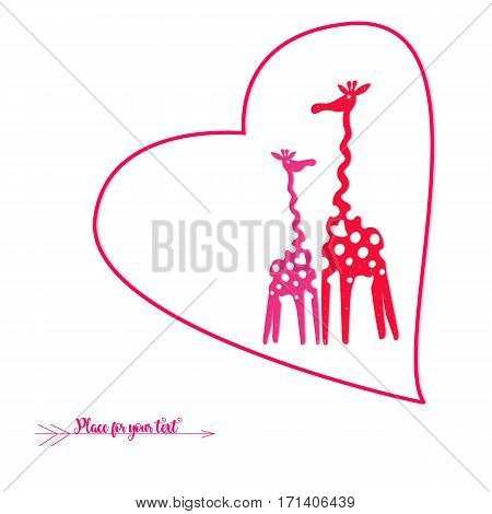 Vector illustration with red giraffes under your design