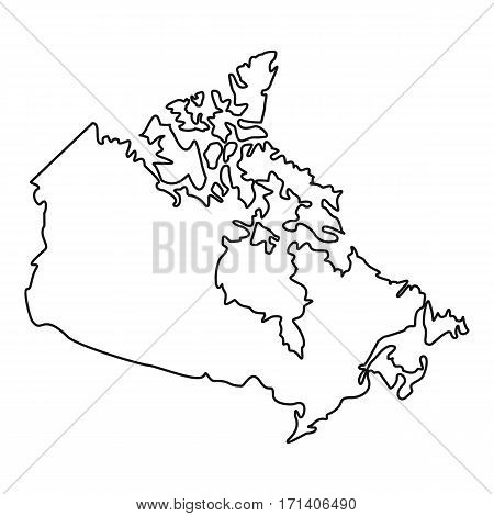 Map of Canada icon. Outline illustration of map of Canada vector icon for web