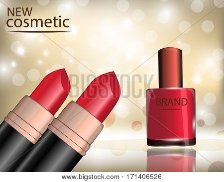 Glamorous nail lacquer and lipstick on the sparkling effects background. Mockup 3D Realistic Vector illustration for design template