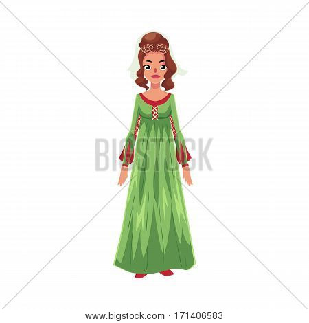 Full length portrait of Italian woman in Renaissance high waist dress, cartoon vector illustration isolated on white background.