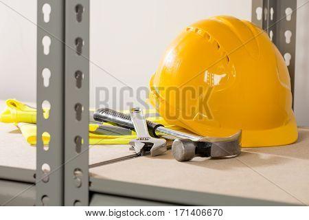 Handyman's Equipment On Steel-framed Shelving
