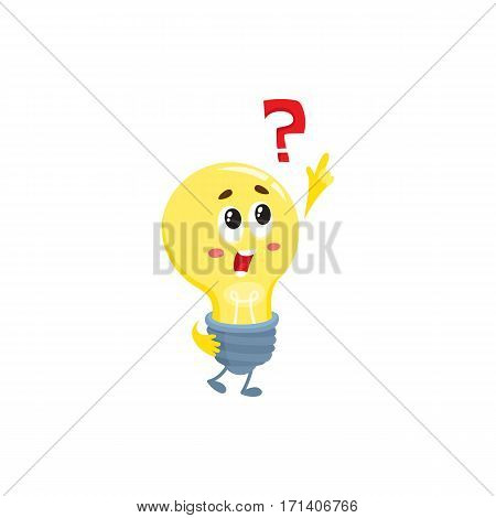 Cute light bulb character with funny face and question mark, cartoon vector illustration isolated on white background. Funny light bulb character, insight, problem solving, solution finding concept