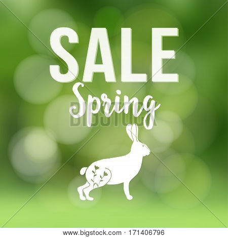 Spring sale poster with blurred background, silhouette of rabbit or hare and bokeh lights. Vector illustration.