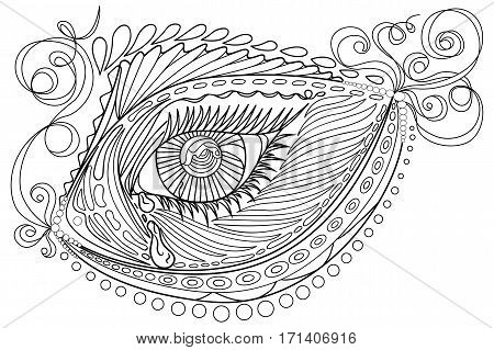 Zen tangle stylized abstract fish and eye, isolated on white background. Hand drawn sketch for adult antistress coloring page, T-shirt emblem, logo, tattoo with doodle, zen tangle, floral elements.