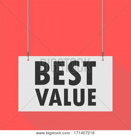 Hanging Sign best value on red background