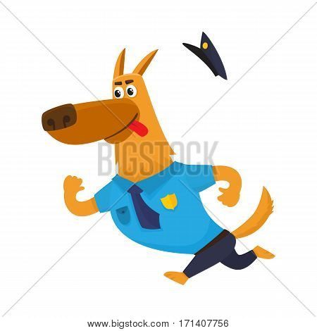 Funny shepherd dog character in blue police uniform chasing a suspect, cartoon vector illustration isolated on white background. Police dog character running after someone