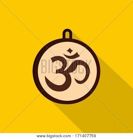 Hindu Om symbol icon. Flat illustration of hindu Om symbol vector icon for web isolated on yellow background