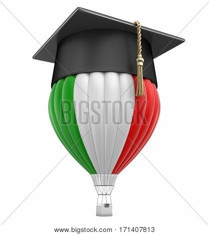 3D Illustration. Hot Air Balloon with Italian Flag and Graduation cap. Image with clipping path