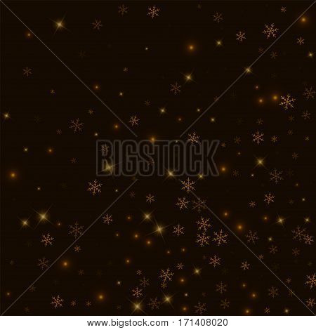 Sparse Starry Snow. Abstract Random Scatter On Black Background. Vector Illustration.