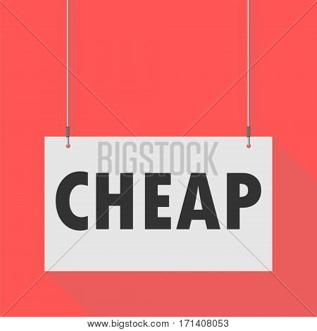 Simple Hanging Sign cheap on red background