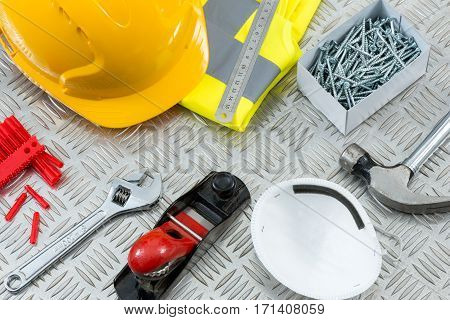 Diy Or Carpentry Tools And Equipment On Steel Tread Plate
