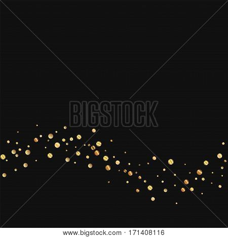 Sparse Gold Confetti. Bottom Wave On Black Background. Vector Illustration.