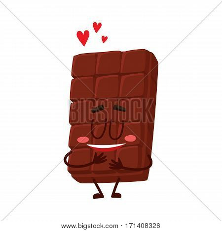 Cute chocolate bar character with funny face, melting from love, cartoon vector illustration isolated on white background. Funny chocolate character, mascot, emoticon showing love and affection