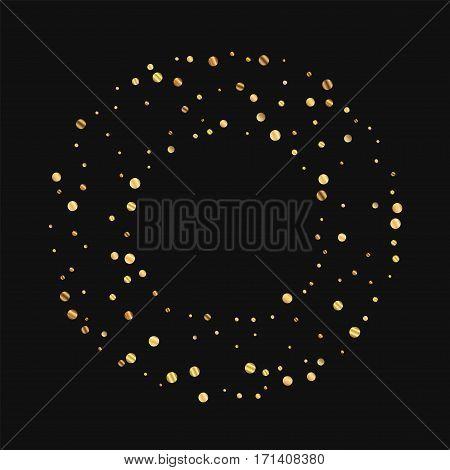 Sparse Gold Confetti. Round Bagel Frame On Black Background. Vector Illustration.