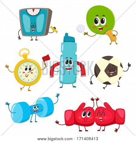 Set of funny sports equipment characters, cartoon illustration isolated on white background. Funny dumbbell, scales, bottle, boxing gloves, football ball, tennis racket and stop watch sport characters