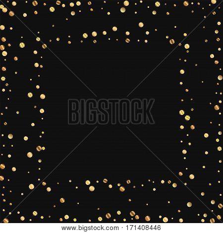 Sparse Gold Confetti. Square Scattered Frame On Black Background. Vector Illustration.