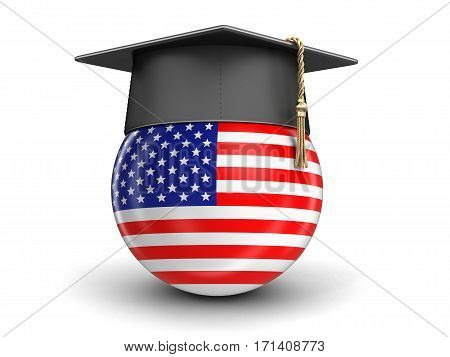 3D Illustration. Graduation cap and USA flag. Image with clipping path