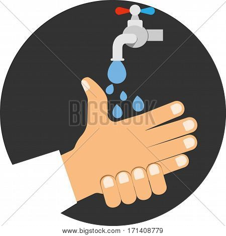 Wash your hands. Vector icon in lat style