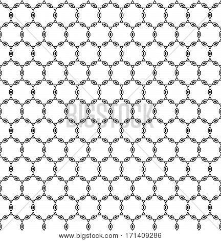 Vector monochrome seamless pattern, repeat ornamental background in oriental style, abstract endless texture. Illustration of lattice, chain, thin geometric figures. Design for prints, textile, decoration, wrapping, digital, web