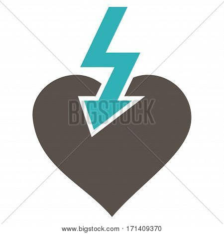 Heart Shock Strike flat icon. Vector bicolor grey and cyan symbol. Pictograph is isolated on a white background. Trendy flat style illustration for web site design logo ads apps user interface.