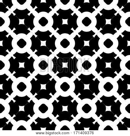 Vector seamless pattern, simple abstract black & white texture. Smooth geometric figures, illustration of lattice. Endless monochrome repeat background. Design for prints, textile, furniture, decoration, digital, web