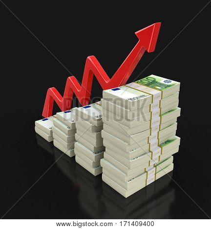 3D Illustration. Pile of Euro and arrow. Image with clipping path