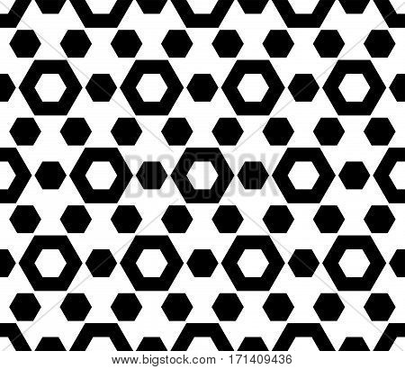 Vector monochrome seamless pattern. Simple geometric texture with hexagonal shapes. Repeat tiles, endless texture. Black & white abstract background. Design for prints, decoration, digital, textile, furniture