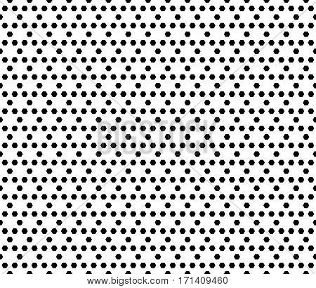 Vector monochrome seamless pattern. Simple modern geometric texture with small hexagons. Illustration with hexagonal grid, lattice. Repeat black & white abstract background. Design for prints, decoration, textile