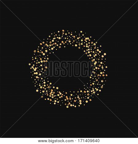 Gold Confetti. Smal Bagel On Black Background. Vector Illustration.