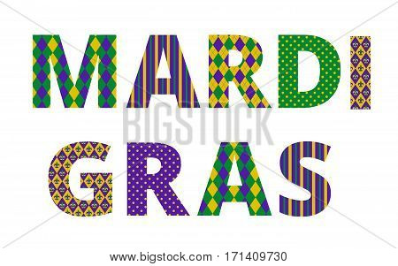 Mardi gras greetings with traditional pattern letters isolated on white