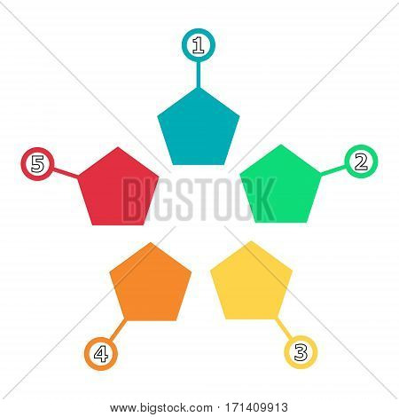 Vector infographic of the technological process or education. Business concept with five options. vector web template infochart Pentagon, diagram, or presentation.