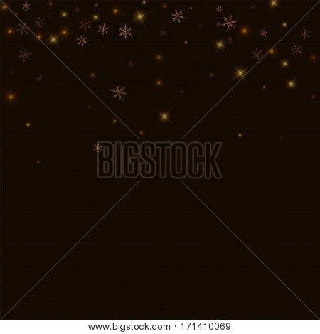 Sparse Starry Snow. Scatter Top Gradient On Black Background. Vector Illustration.