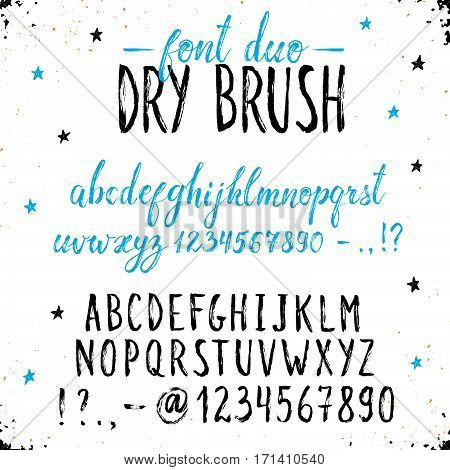 Handmade letters. Handwritten alphabet on white background. Hand drawn grunge calligraphy. Modern ink typography. Dry brush font duo.