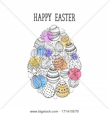 Composition with easter eggs hand drawn black on white background. Easter greeting card with colorful spots and leaves in heart shape.