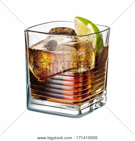 alcohol cocktail lime whiskey cola with ice isolated on white background