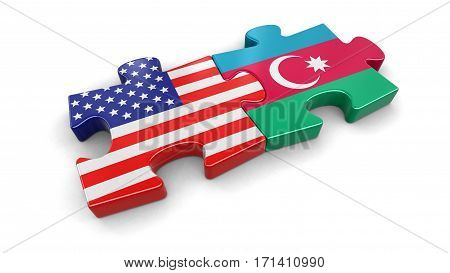 3D Illustration. USA and Azerbaijan puzzle from flags. Image with clipping path
