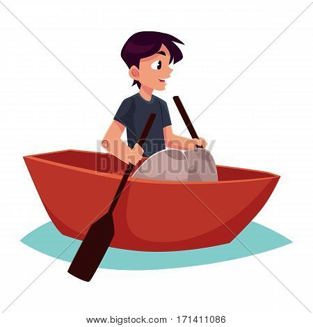 Boy swimming in little boat, kayak, summer vacation concept, cartoon vector illustration isolated on white background. Little boy swimming in river, pond in small boat