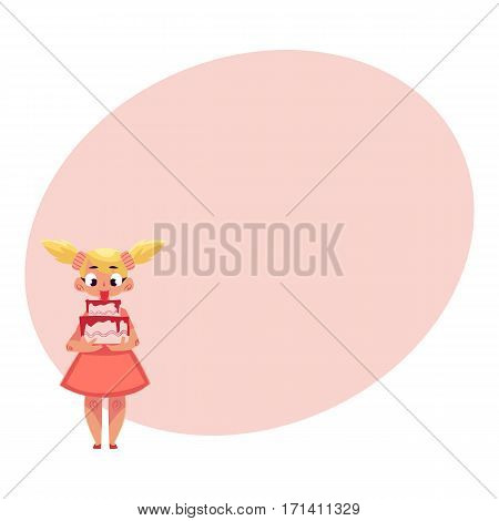 Little girl with two ponytails in pink dress holding strawberry birthday cake in two hands, cartoon vector illustration with place for text.