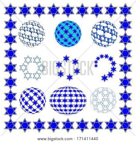 Set round sphere with blue Star of David, Jewish religious symbols.