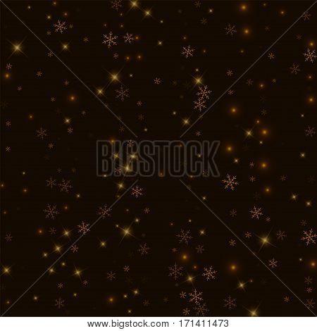 Sparse Starry Snow. Scatter Vertical Lines On Black Background. Vector Illustration.