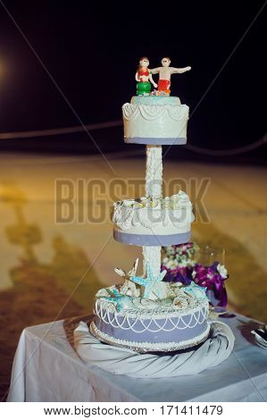 Wedding Cake On The Beach. Wedding In The Tropics Concept