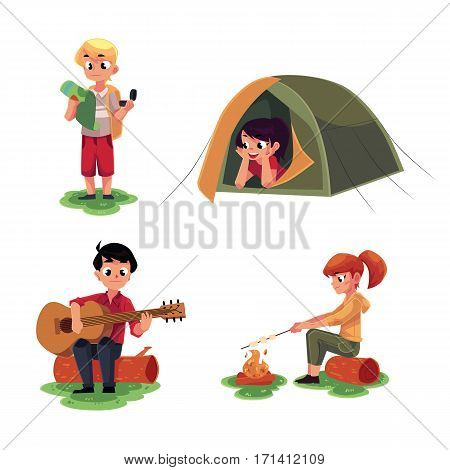 Camping kids - studying map, lying in tent, playing guitar and frying marshmallow on fire, cartoon vector illustration isolated on white background. Kids camping, tourist children set